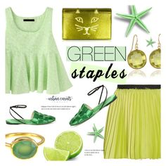 """""""Green Spring"""" by alexandrazeres ❤ liked on Polyvore featuring Enza Costa, Martha Stewart, Charlotte Olympia and Marco de Vincenzo"""