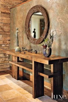Earth tones.... these colors really are classy and calming....then you can add pops of color anywhere! Rustic Entry Table, Modern Sofa Table, Entry Tables, Rustic Console Tables, Wood Table, Rustic Decor, Wall Tables, Tv Tables, Granges
