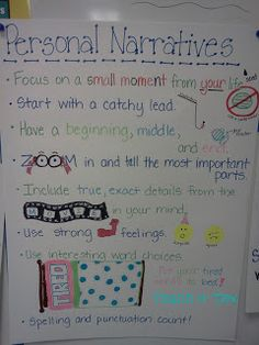 Anchor charts - I like the personal narrative one. Could use that for beginning-of-year writing exercise to get to know students and to assess ELA skills