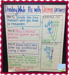 Dividing Whole Numbers with Decimal Quotients Anchor Chart