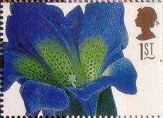 Greetings Stamps. 19th-century Flower Paintings 1st Stamp (1997) Gentiana acaulis (Georg Ehret)