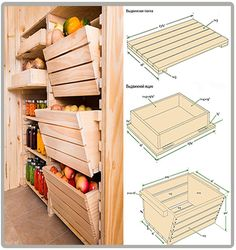 Beautiful wooden storage for garden and canning Crate Storage, Pantry Storage, Diy Storage, Kitchen Storage, Storage Ideas, Fruit Storage, Vegetable Storage, Pantry Inspiration, Diy Rangement