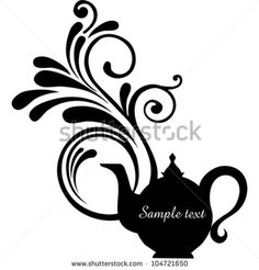 Teapot with floral design elements.Teapot silhouette isolated on White background. Restaurant menu or Invitation. Vector illustration