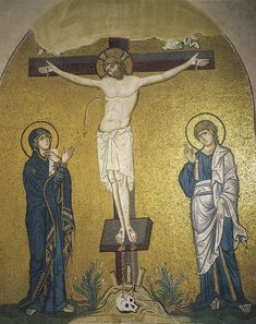 MOSAIC: Crucifixion, Church of the Dormition, Daphni, Greece. LINK for more images of the monastery's mosaics.