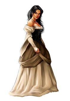 Female Noble Raven Haired Aristocrat - Pathfinder PFRPG DND D&D d20 fantasy