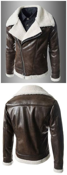 Modern Style Fur Collar Slimming Inclined Zipper Fly Solid Color Long Sleeves Men's PU Leather Coat