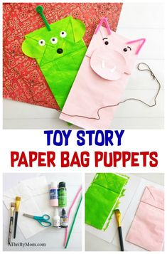 Celebrate the upcoming Toy Story movie release with these adorable Toy Story paper bag puppets of Hamm and a green alien. Celebrate the upcoming Toy Story movie release with these adorable Toy Story paper bag puppets of Hamm and a green alien. Toy Story Movie, New Toy Story, Toy Story Alien, Toy Story Party, Toy Story Crafts, Movie Crafts, Disney Diy, Disney Crafts, Diy Craft Projects