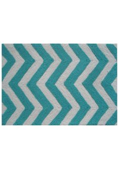 POP ACCENTS Turquoise Chevron Accent Rug