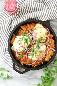 Chilaquiles with Cilantro Roasted Tomato Salsa - pumpkinandpeanutbutter Homemade Tortilla Chips, Homemade Tortillas, Homemade Salsa, Breakfast Nachos, Vegetarian Breakfast, Vegetarian Recipes, Roasted Tomato Salsa, Roasted Tomatoes, Pickled Red Onions