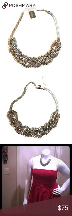 NWT Natasha braided mesh & rhinestone necklace NWT gorgeous Natasha braided mesh rhinestone necklace. This piece is lead free and has an adjustable length. Perfect for the holidays! Natasha Couture Jewelry Necklaces