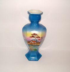 1920s Art Deco Vase Vintage Blue Vase Vintage by BiminiCricket, $55.00