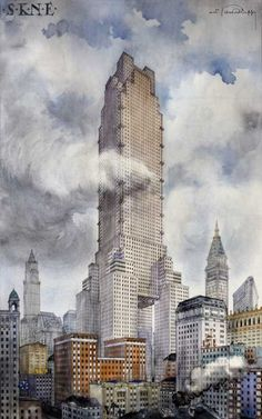 Piero Portaluppi's project for a skyscraper in New York City called 'Hellytown' 1926 Monumental Architecture, Architecture Drawings, Futuristic Architecture, Historical Architecture, Architecture Design, Turm Von Babylon, Building Drawing, Art Deco Buildings, City Art