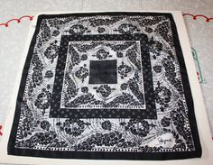 Retro Schiaparelli Floral Black/White Polyester by FelicesFinds