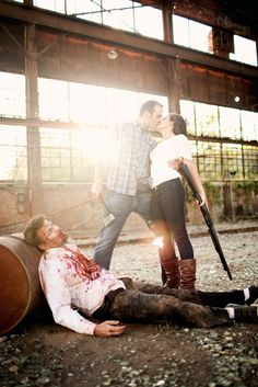 Ha, fun engagement shoot. Kill zombies together, stay together. My honey pinned this....aww baby we must do this! Is this a hint? Lol