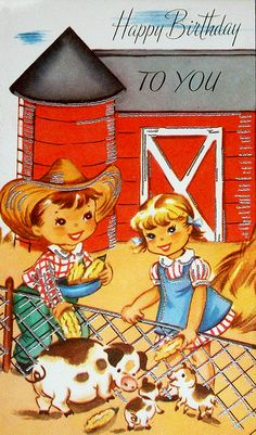Vintage cowboy and cowgirl birthday card
