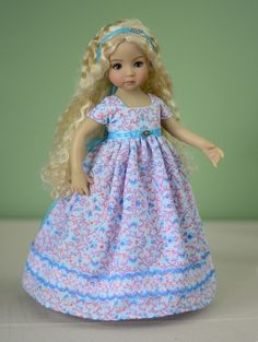 """SOLD """"Lavender Afternoon"""" Regency Dress, Clothes for 13"""" Dianna Effner Little Darling #LuminariaDesigns"""