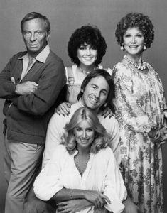 Three's Company cast (March 15, 1977 - September 18, 1984) Norman Fell as Stanley Roper (Seasons 1–3), Joyce DeWitt as Janet Wood (Seasons 1–8), Audra Lindley as Helen Roper (Seasons 1–3), John Ritter as Jack Tripper (Seasons 1–8), ans Suzanne Somers as Chrissy Snow (Seasons 1–5)