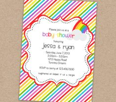 Rainbow Baby Shower Invitation Printable by BellasBoutiqueDesign, $13.00