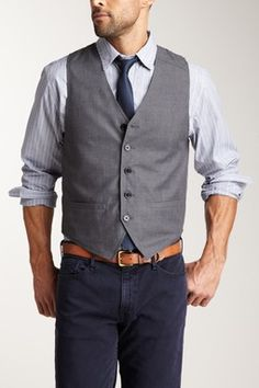 Men's uniform Jeans Vest skinny tie w/ custom print specific to the restaurant (like dad's day tie) casual dinner with me :) Vest And Tie, Suit Vest, Vest Men, Dress Vest, Wedding Suits, Wedding Men, Bartender Uniform, Navy Vest, Navy Suits