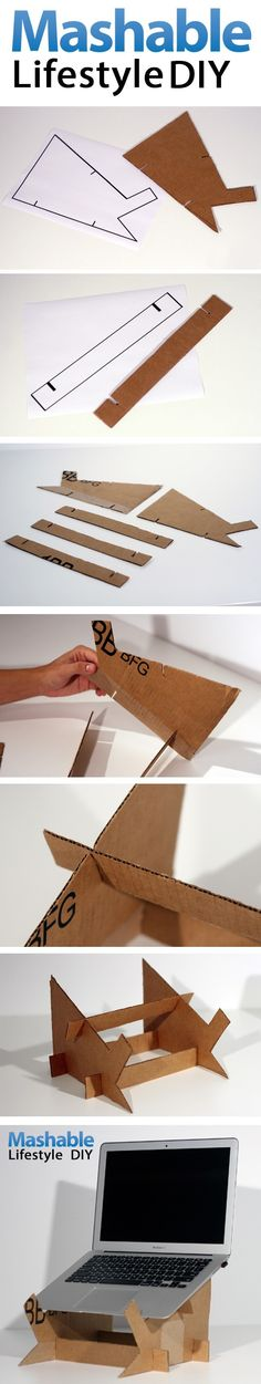 Lifestyle DIY Cardboard Laptop Stand. Perfect as the laptop heats up easily.. don't want to burn the table!