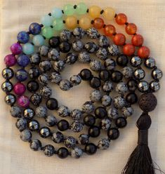 Mala Buddha Necklace Agate opalit antique boho Prayer chain Yoga Hippie