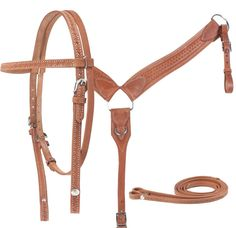 This headstall and breast collar set is made with extra thick heavy duty leather and reinforced stitching.   The breast collar has been designed extra wide to evenly distribute pressure. The full set includes matching headstall, reins and breast collar with Chicago screws for easy bit and rein attachment. Model T0204. ONLY $59.99