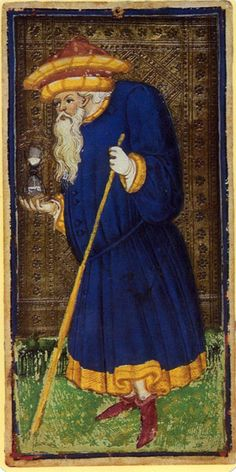 IX -The Hermit -- Visconti Sforza Tarot,ca. 1450