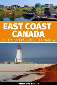 A trip to Canadas East Coast is all about salty sea breezes, fresh lobster, colourful fishing villages, sweeping swathes of sandy beach, weathered lighthouses and majestic ocean panoramas. Connecting them all are winding coastal roads, sometimes only a crash barrier away from the water itself. Click here to discover two East Coast Canada road trip itineraries to help you plan your adventure! offtracktravel.ca  #canada #eastcoast #roadtrip #travel