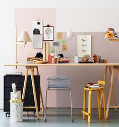 work-space in pastel hues