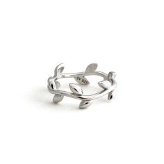 925 Sterling Silver Olive Leaf Branch Ring SilverStella