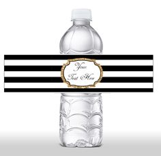 INSTANT DOWNLOAD Black & White Stripe Gold Glitter Water Bottle Label - Editable Water Bottle Label DIY Label 0134 0150 0129 0152 0223 0224 by JanePaperie on Etsy https://www.etsy.com/listing/237451199/instant-download-black-white-stripe-gold