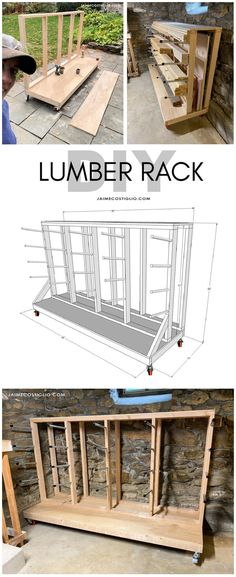 A DIY tutorial to build a lumber rack including plans. Make this movable lumber storage rack to house full sheets and boards. #freeplans #lumberrack #lumberstorage