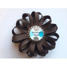Brownie Girl Scout Layered Bottle Cap Bow