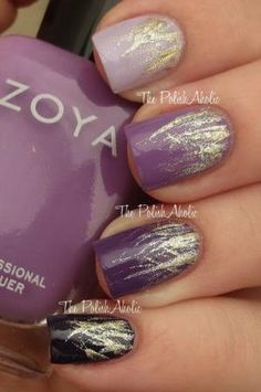 Purple Ombre Waterfalls - #ombrenails #ombrepolish #nails #nailart #purplepolish #waterfallnails #fallnails #goldpolish #thepolishaholic by proteamundi