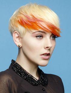 Blonde hair - bright orange and pastel pink streaks...