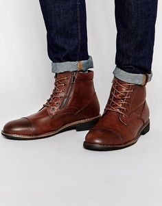 Pull&Bear | Pull&Bear Faux Leather Worker Boots in Dark Brown at ASOS