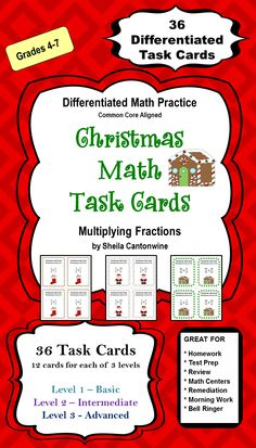 These Christmas Task Cards features 36 differentiated Multiplying Fractions Task Cards with a Christmas theme. There are 3 levels of problems so you can differentiate by student or class.  Great for homeschooling families too!