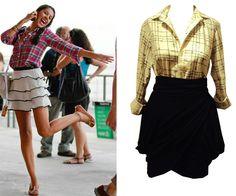 Camisa xadrez com saia Moda mulher