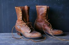 Vintage Justin Roper Boots Beautiful Heavy Leather by nowvintage