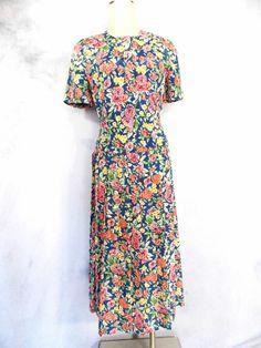 Talbots Floral Dress Sz M Accordion Pleated Midi Vtg 80s Career Chintz Day Dress
