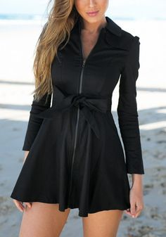 The design of this black zip-up skater dress gives this casual number a sophisticated spin. Get this with free shipping worldwide. Only on Lookbook Store. #lookbookstore #FashionClothing