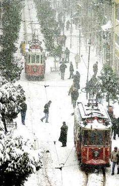 Trams in the winter--trollies are very cool.  http://magnificentturkey.com #Istanbul #Turkey #Türkiye