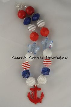 Nautical 4th of July Chunky Necklace- chunky beaded necklace- Chunky bubblegum necklace