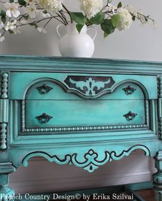 Items similar to SOLD! - Rare Antique Ornate Jacobean Hand Painted French Country Design Distressed Turquoise / Aquamarine Blue Green Buffet Sideboard on Etsy Turquoise Furniture, Blue Furniture, Chalk Paint Furniture, Cool Furniture, Furniture Projects, Faux Painting Techniques, Furniture Painting Techniques, Diy Dresser Makeover, Furniture Makeover