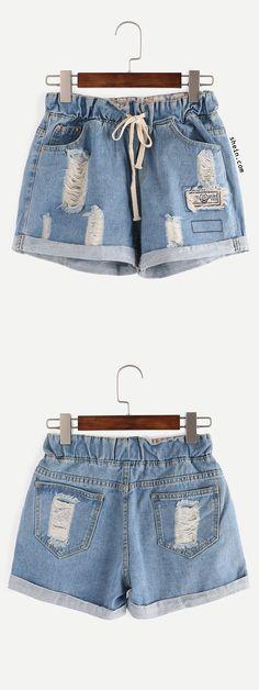 Ripped Drawstring Waist Rolled Hem Denim Shorts