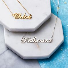 Have you seen these adorable name necklaces? They're so cute and can be worn with anything.
