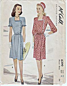 1940er Jahre Vintage Kleid Muster McCALL 6399 Feminine