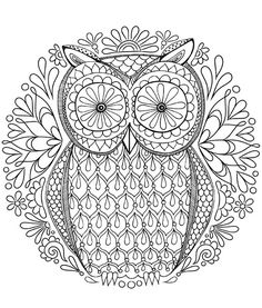 Free Owl Coloring Page by Thaneeya