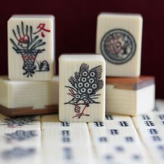 Vtg Mid-20th Century 144 Casein, French Ivory Look Bamboo, Japanese Mahjong Set