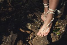 Yoga Barefoot Sandals, barefoot wandering, yoga wear, yoga inspiration, free spirited, barefoot bride: Wanderlove Barefoot Sandals - made from ivory leather, wooden and white beads, tying up around the ankle.